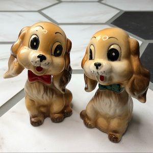 Vtg Commodore Spaniel puppy salt & pepper shakers